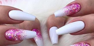 glitter glam pink on white