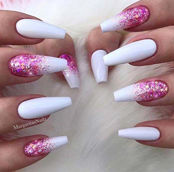 glitter glam pink on white