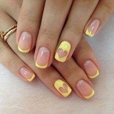 yellow french mani heart