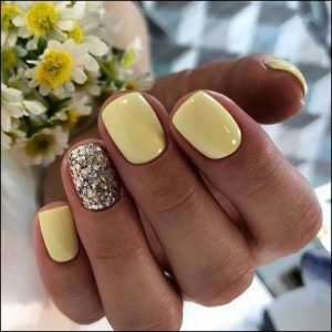 dip powder yellow glitter