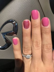 shellac pink glitter