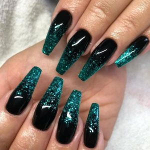 teal black acrylic glitter