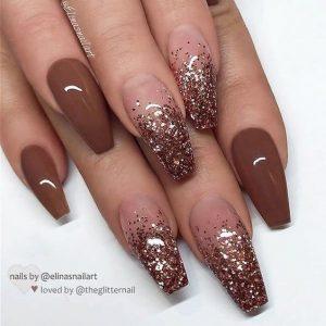 bronze brown ombre glitter