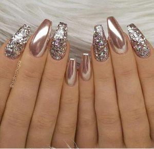 glitter chrome acrylics