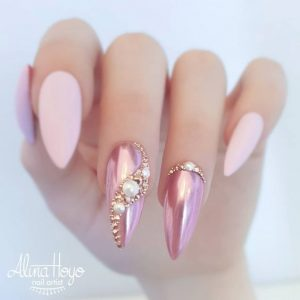 rose gold chrome nude pink