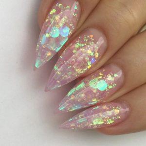 stiletto clear acrylics iridescent
