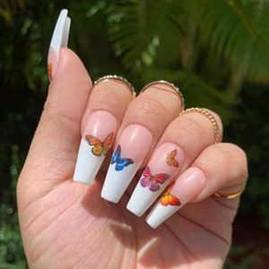french tip butterfly coffin