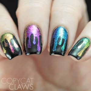 rainbow metallic black dripping