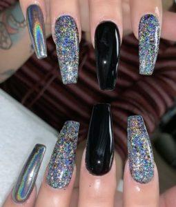 black iridescent glitter acrylic