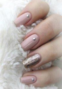 nude pink embellished glitter