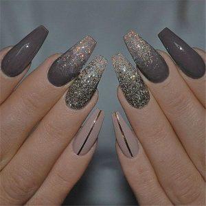 gold neutral glitter acrylics stripe