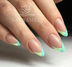 green shade tips french gel