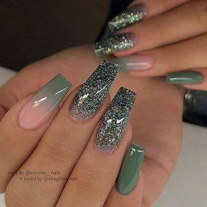 envy green glitter acrylic