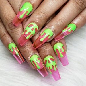 neon green drip clear pink