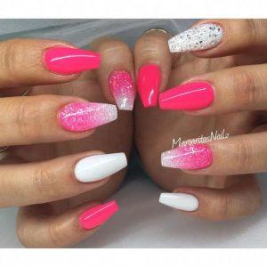 neon pink white glitter acrylic