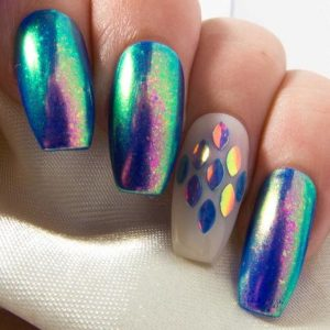mermaid color iridescent glitter