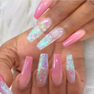 holographic flake glitter acrylic clear
