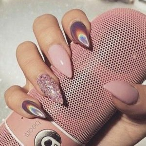 nude pink holographic stiletto