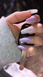 glitter lavender acrylic