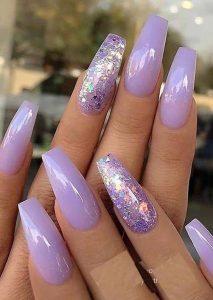 lavender glitter acrylics