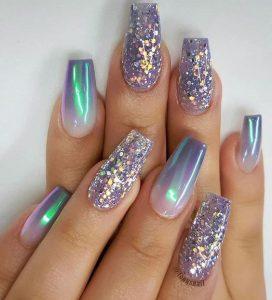 iridescent glitter ombre acrylic