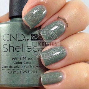shellac shimmering moss green