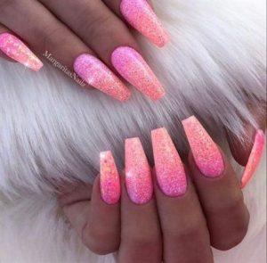 pink peach ombre glitter coffin