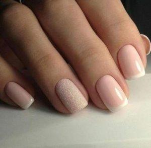 neutral glitter french tip