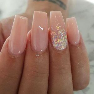 nude pink ombre glitter coffin