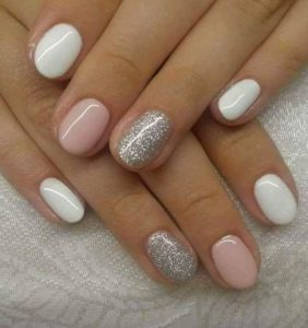 shellac glitter pink white