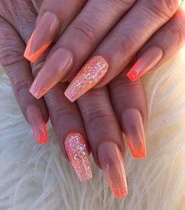 neon orange tip glitter acrylic