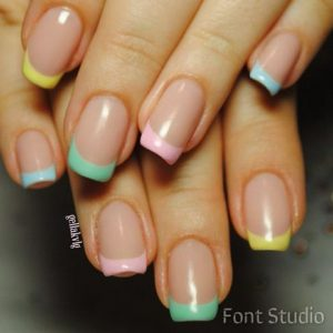 rainbow pastel french tip