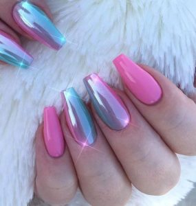 iridescent finish ombre pink