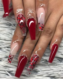red heart glitter arylics
