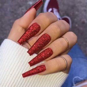 full glitter red acrylic