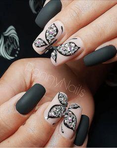 black matte nude butterfly stones