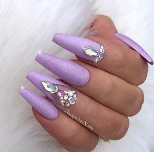 coffin lavender rhinestone glam