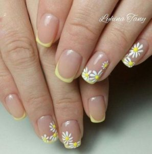yellow flower french tip