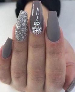 matte glitter taupe jewel