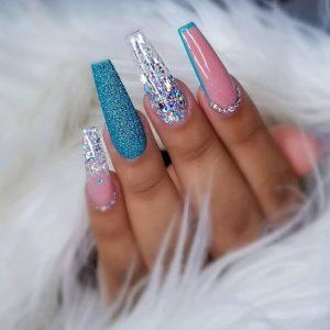 bright blue design glitters