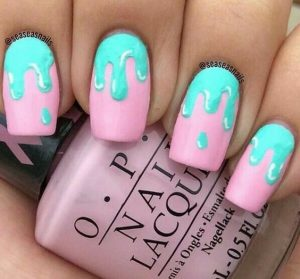 pink with teal dripping