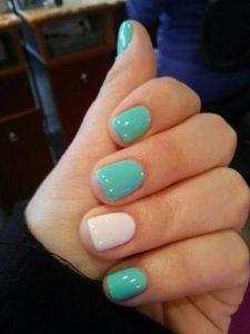 shellac turquoise white