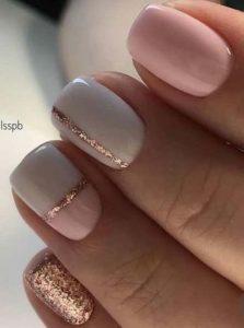 shellac white pink glitter
