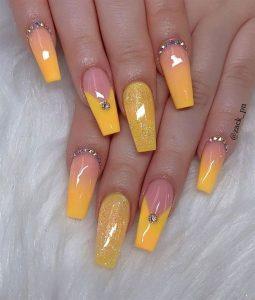 bright yellow glitter nails