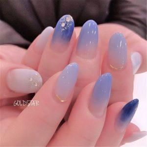 kawaii blue ombre design
