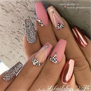 pink chrome accent glitter