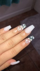 white butterfly clear nails