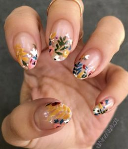 korean flower french tips