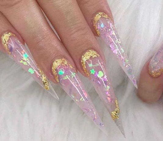 long stiletto glamorous design clear
