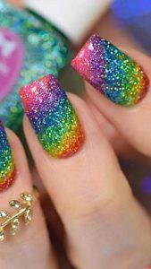 rainbow glitz nails